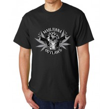 Marijuana Outlaws - Greyscale Logo T-Shirt - Black