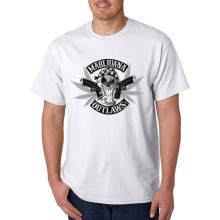 Marijuana Outlaws - Greyscale Logo T-Shirt - White
