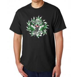 Marijuana Outlaws - Rustic-Leaves T-Shirt - Black