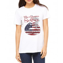 Marijuana Selfies - USA Flag T-Shirt