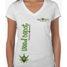 Weed Depot - Womans White V-Neck Shirt
